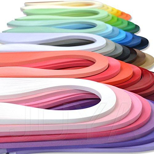 JUYA Papier Quilling Set bis zu 42 Farben eine Farbe und 100 Streifen pro Packung 3/5/7/10mm Breite verfügbar(42 Farben, Breite 5mm)