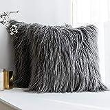 MIULEE 2er Set Kissen Fell Fellkissen Soft Kissenbezüge Solid Dekorative Quadrat Pelz Throw Sofakissen für Sofa Schlafzimmer Grau 18x18 inch 45x45 cm