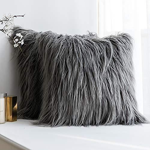 MIULEE Juego de 2 Funda de Almohada Cojines de Piel Decorativos Cuadrados y Suaves Cojines PeloPara la Decoración del Hogar Sofá Cama del20x20 Inch 50 x 50 cm Gris