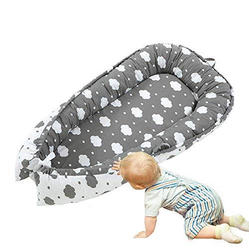 QDQBaby Nest, Baby Lounger Pillow, Cuddly Nest Baby Nest Cotton Baby Bassinet Lounger Cribs, Portable Cot Removable - for Bedroom Travel5QDQ
