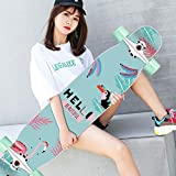 MKJYDM Scooter Maple Long Board Brush Street Dance Board Cuatro Ruedas Doble Skateboard Skateboard Principiante Teen Boy Girl Profesional Skateboard patineta (Color : D)