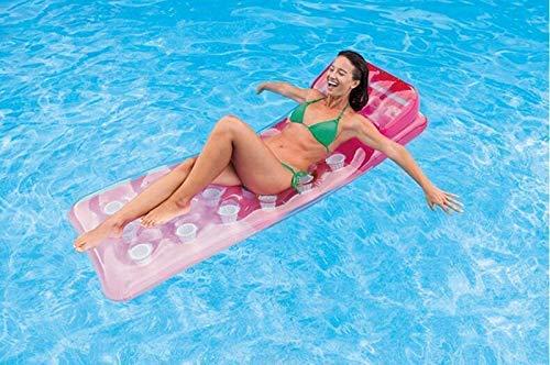 Agua flotante Hamaca, cómodo flotador Piscina de verano Tumbona Balsas, piscina inflable flotante sillón cama flotante, agua Sofá, estera de la playa for adultos cuentos for niños - 188x71cm (Color: B
