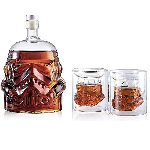 750 ml Weinglas-Set Stormtrooper Whiskey-Dekanter mit 2 Stück 150 ml Whiskey-Glasbecher, Zubehör, kreatives Geschenk für Männer (750 ml)