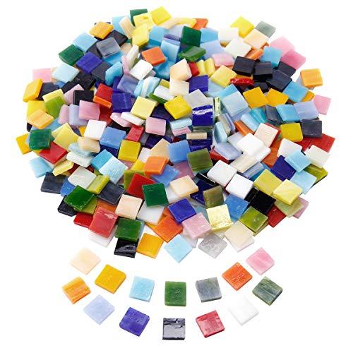 Anladia 400 Stück 10mm Mosaiksteine Mosaikfliesen Mosaik Quadrat Bunt gemischt Basteln DIY Deko mit Aufbewahrungsbox
