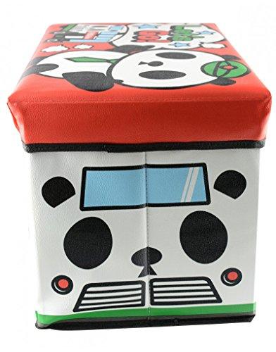 Home Line Zitzak/kist voor kinderen, opvouwbaar, voor het opbergen van speelgoed, motief: Panda-Bär. 48 x 31 x 31 cm.