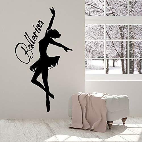 HGFDHG Bailarina Silueta Pared calcomanía Palabra Logo Bailarina Vinilo Pegatina Chica Dormitorio Estudio de Baile Ballet Escuela Interior Art Deco