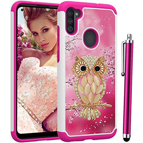 Voanice Galaxy A11 Case,Shockproof Hybrid Heavy Duty Rugged Hard Plastic &Soft Silicone Rubber Protective Phone Case Dual Layer Armor Protection Cover Women Girls for Samsung Galaxy A11-Cute Pink Owl