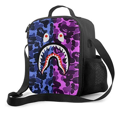 Bape Shark Teeth Camo Lunch Bag Tote Lunch Bag Waterproof For Men Women Kids Durable School Office Work Lunch Box Picnic