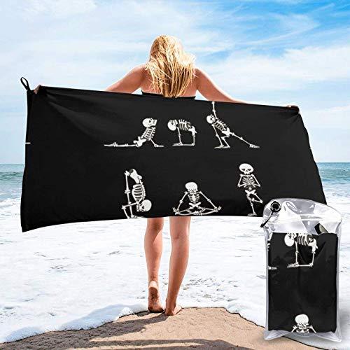 FLDONG Toalla de secado rápido con estampado de calavera de deportes, ultra suave, compacta, ligera, adecuada para camping, gimnasio, playa, natación, yoga, hogar 81.5 x 163 cm