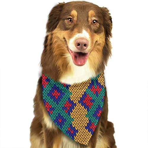 Dreieckstuch, gestrickt, nahtlos, buntes Muster, für kleine, mittelgroße und große Hunde, Welpen und Haustiere