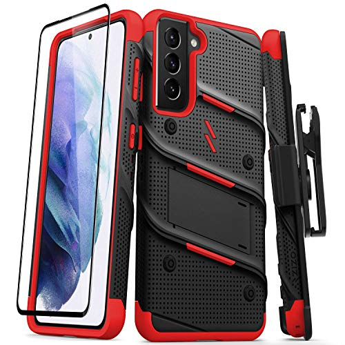 ZIZO Bolt Series for Galaxy S21 Case with Screen Protector Kickstand Holster Lanyard - Black & Red