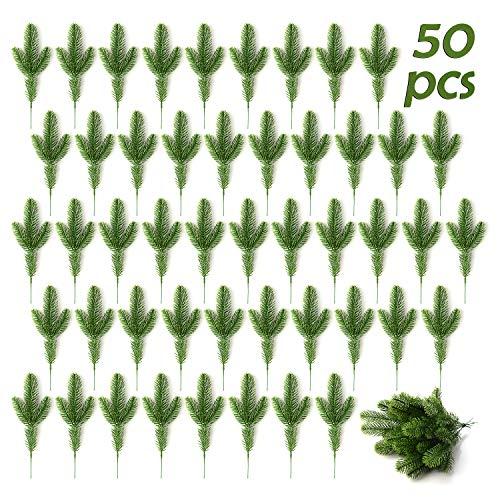 XHONG Künstliche Kiefernzweige, künstliche Tannenzweige, künstliche Tannenzweige, Nadel, Girlande, DIY-Zubehör für Weihnachten und als Haus- und Garten-Dekoration, 50 Stück, PVC, 50 Stück, 24x8cm