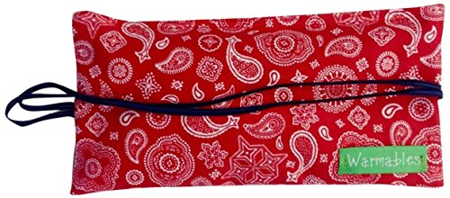Warmables Eye Pillow Heat Pack soothes headaches, migraines, dry eye, stress relief. Unscented,100% natural cherry pit filler, reusable, washable, microwavable, red paisley flannel Made in the USA.
