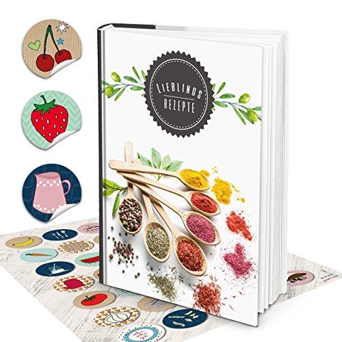 Grote Hardcover XXL receptenboek, DIN A4, notitieboek, keuken, om zelf te schrijven, kruiden + kleurrijke stickers recepten zelf maken en zelf maken eigen kookboek 164 lege blanco pagina's als cadeau