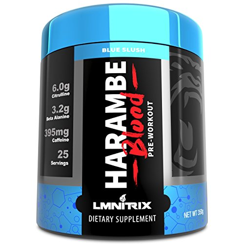Harambe Blood Preworkout Powder for Men & Women - Extreme Pump and Energy Supplement - 350g (Blue Slush)