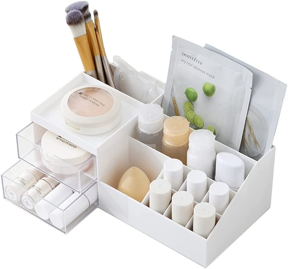 Makeup Desk Organizer with OFFicial shop Drawers Kayviex Cas Cosmetic Display All items in the store