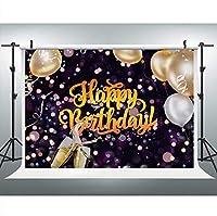 写真のための新しいハッピーバースデーの背景9x6FT誕生日風船シャンパンの背景写真ブーススタジオ小道具085