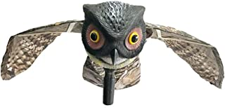 Yardwe Owl Decor Bird Runner Insect Deterrent Movable Wings Scarecrow Home Garden Orchard Insect Owl with Wings (Red Eye Sockets)