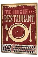 カレンダー Perpetual Calendar Fun rative Restaurant Tin Metal Magnetic