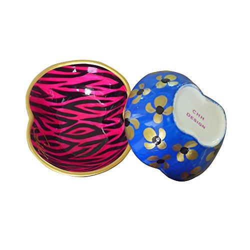 Caroline @ CHH Design Joli Petit Bol Forme Pomme, Vide-Poche, Arts de la Table 'Zèbre Rose/Empreinte Bleue' Peint à la Main sur Les Deux cotés
