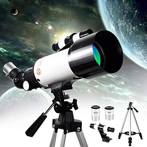 BSJZ Telescopio astronómico HD 400 / 70Mm National Geographic Refractor Monocular Telescopios con Extensor planetario y Bolsa de Transporte para Adultos, niños y principi