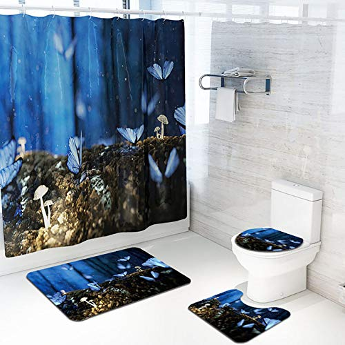 KEAINIDENI Toilettenmatte 4 STÜCKE rutschfeste WcPolyesterAbdeckmatteSet BadDuschvorhangMai # 24, C, China