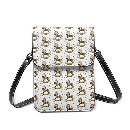 Womens Crossbody Phone Bag Lightweight Shoulder Bags Boho Rocking Horse Travel Cellphone Purse Wallet with Adjustable Belt