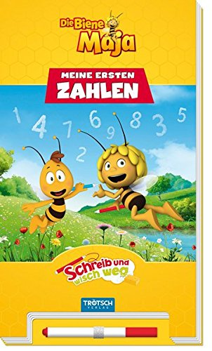 Trötsch Die Biene Maja Schreib und wisch weg Zahlen: Übungsbuch Vorschulbuch Beschäftigungsbuch: Schreib-und-wisch-weg-Übungsbuch mit Stift