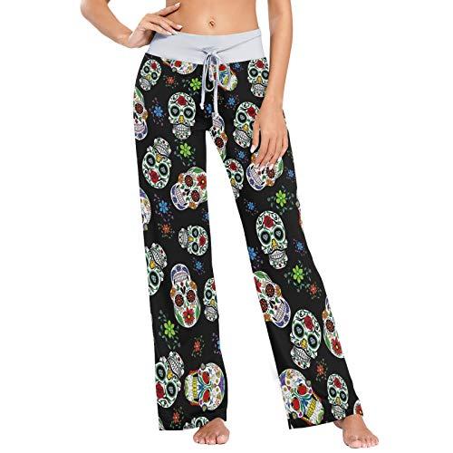 Pantalones de Pijama para Mujer Pantalones de Dormir Pantalones de Pierna Ancha atléticos Largos Estampado de Flores de Calavera de azúcar