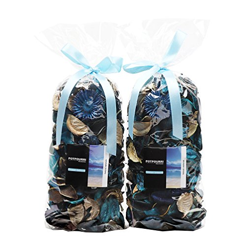 Qingbei Rina Gifts Ocean Scent Fresh Potpourri Bag,Perfume Sachet of Dried Flower Petals,Bowl and Vase Decorative Filler Home Fragrance, 4.2oz x 2 Bags,240g,Can Fill a Bowl of 83 Fluid-Oz (Blue)