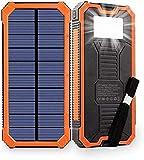 Fitnes 20000mAh Power Bank Chargeur Solaire sans Fil Portable - Batterie Externe avec indicateur de statut LED, Haute capacité...