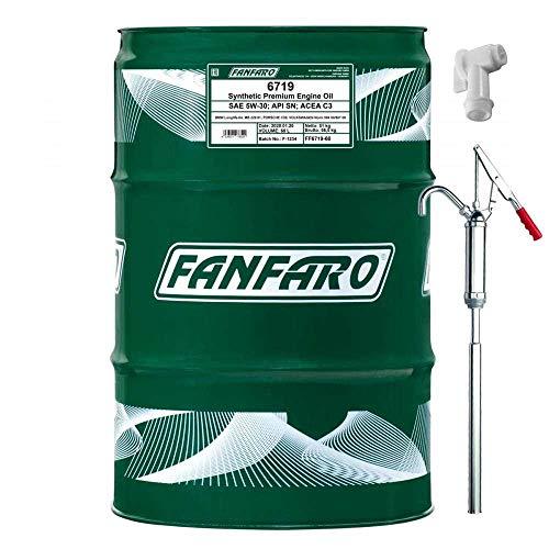 60L FANFARO FF6719 O.E.M. 5W-30 Motoröl API SN ACEA C3 inkl. Auslaufhahn & Handpumpe SAE CF Longlife-04 MB 229.51 C30 504.00 507.00