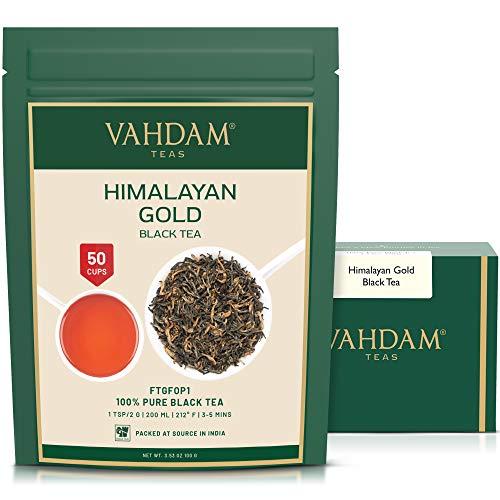 VAHDAM, té negro dorado del Himalaya, 100 gramos (50 tazas)   Hojas de té negro 100% PURO con TIPS DE ORO   ROBUSTO, RICO Y SABOR   Hojas sueltas de té negro de la India