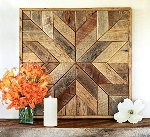 Reclaimed wood star quilt block wall art - 26 inch