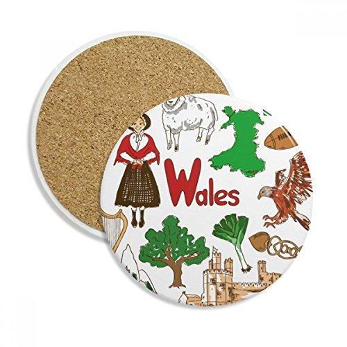 Wales Landscap Caneca de porta-copos com bandeira nacional do Reino Unido e pedra absorvente de proteção de mesa