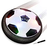 Baztoy JT811 Kids Toys Air Power Soccer Ball Games Indoor Football Gifts for Boys Girls with Soft Foam Bumpers and Colorful LED Lights - Black