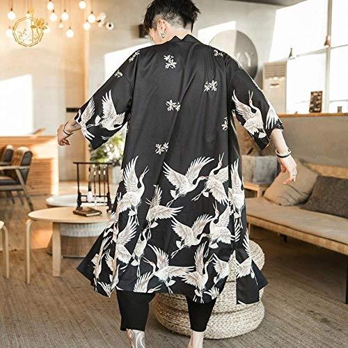 Coner Camisa Hawaiana Ropa de Hombre Streetwear japonés Camisa Masculina China Extra Larga Blusa Fresca Cárdigan Kimono Masculino, Negro, XXL