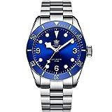 Steeldive Reloj de pulsera automático para hombre 1958, azul, con correa de acero inoxidable, cristal de zafiro, bisel de cerámica.