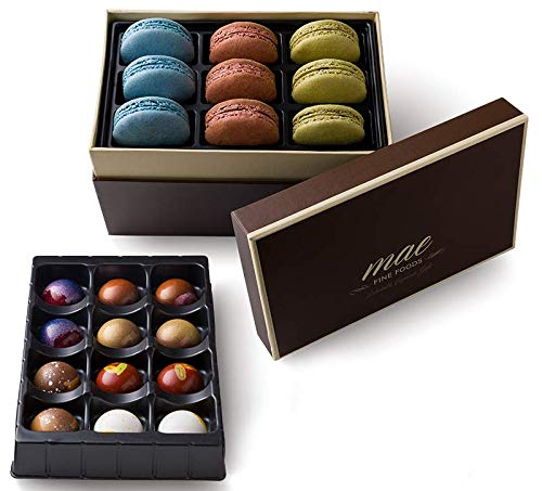 Gourmet Chocolate Bonbons and French Macarons Gift Set Small