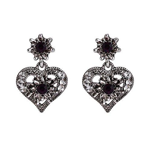 Clearine Damen Oktoberfest Trachtenscmuck Künstliche Perlen Kristall Trachten Herz Ohrringe zu Dirndl und Lederhose
