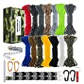 WEREWOLVES 550 Paracord - Survival Paracord Bracelet Crafting Kits Crafting Kits - Parachute Cord with Soft Tape Measure, Buckles, Carabiner, and Key Rings -Multicolor Rope Gift Box