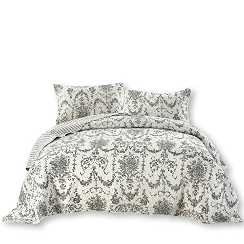 DaDa Bedding Damask Victorian Candelabra Filigree - Elegant Jacquard Coverlet Bedspread Set - Bright Vibrant Floral Black & White - King - 3-Pieces