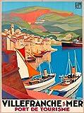 A SLICE IN TIME Villefranche-sur-mer Port de Tourisme Sur La Cote D' Azur France Vintage French Travel Wall Decor Advertisement Art Poster Print. 10 x 13.5 inches.