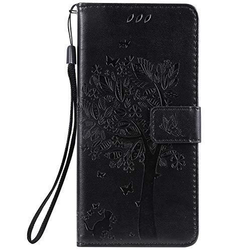 Lomogo Xiaomi Mi 9 Hülle Leder, Schutzhülle Brieftasche mit Kartenfach Klappbar Magnetverschluss Stoßfest Kratzfest Handyhülle Case für Xiaomi Mi9 - LOKTU080508 Schwarz
