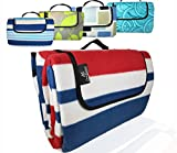 ANJ XXL 3-Layer Waterproof Outdoor Blanket for Picnic and Beach(Red Stripe) 79 x 71'