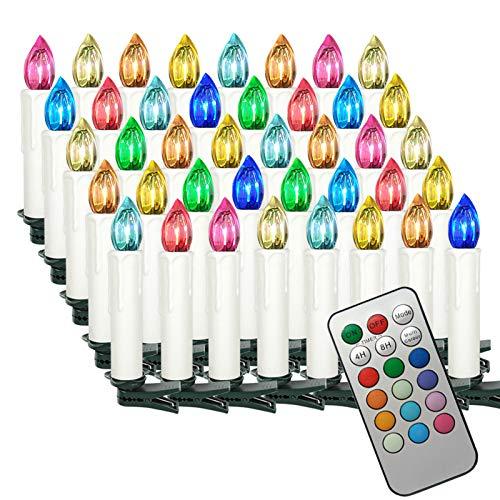 Aufun LED Kerzen Kabellos 40 Stück Weihnachtskerzen mit Fernbedienung Outdoor Weinachten LED für Weihnachtsbaum, Weihnachtsdeko, Hochzeitsdeko, Party, Feiertag, RGB