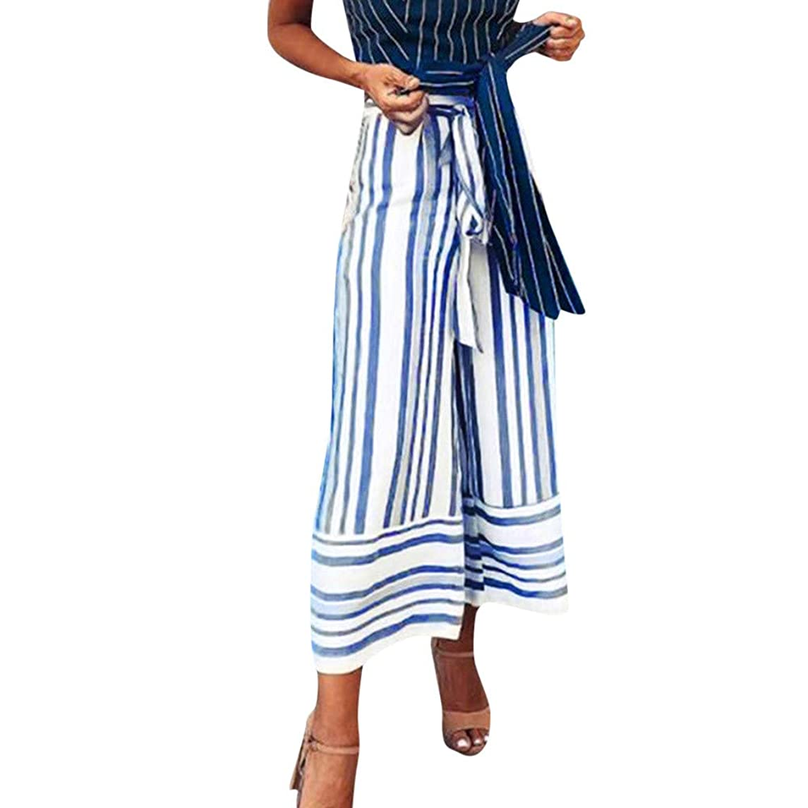2018 Palazzo Pants,Casual Striped Printed Wide Leg Waistband High Waist Trousers by-NEWONESUN