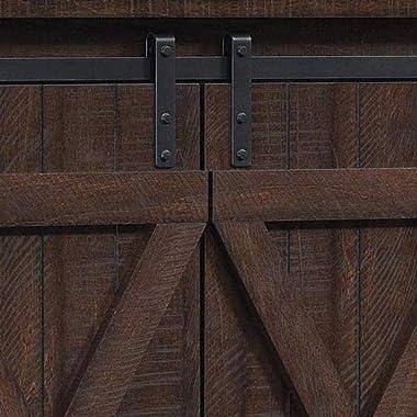 Twin Star Home Sliding Barn Door TV Stand, Sawcut Espresso