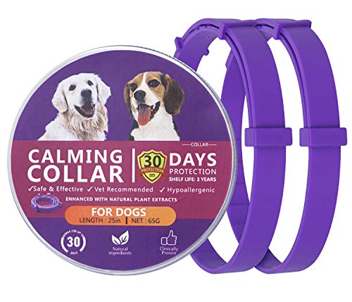 QUTOP 2 Pack Dog Calming Collar Anxiety Relief, Calming Pheromone Collar for Dogs Adjustable Size Fits All Dogs (25 Inch)