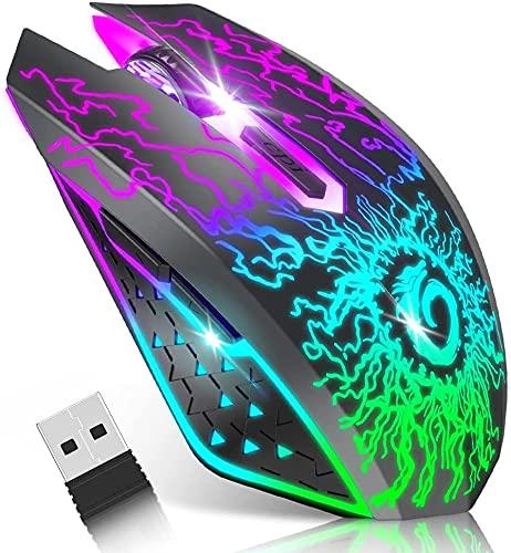 VersiónTECH. Ratón inalámbrico para Juegos, ratón de Ordenador Recargable, Clic silencioso, Nano Receptor USB de 2,4 G, 3 Niveles de dpi para PC Gamer, portátil, Escritorio, Chromebook Mac, Negro